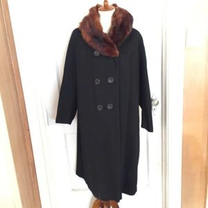 Vintage Wool and Mink 3/4 Coat. Size XL